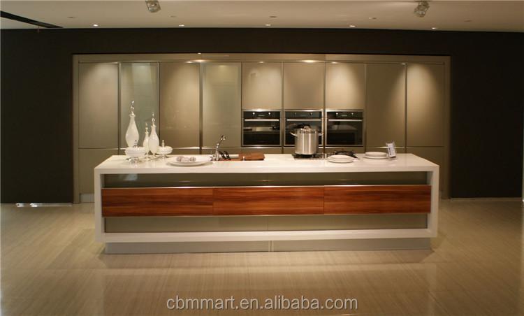 El último diseño de madera mueble cocina con isla gabinete ...