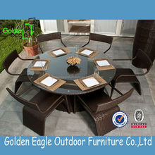 outdoor rattan furniture leisure patio indoor round dining table set with glass top