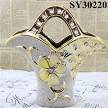 Golden flower carving & crystal white ceramic table vase