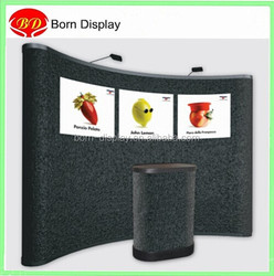 Curved top pop up banner expandable frame stand with fabric adhesion PVC graphic sheet