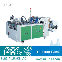 Servo Motor Drive Twin Photocell T-Shirt Bag Making Machine With Hot Cutting Type