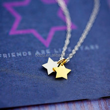 Popular wholesale delicate thin chain zinc alloy tiny silver and gold double star pendants