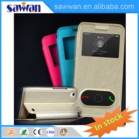 double window view leather mobile cell phone case with great price for HUAWEI C8817D