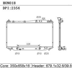 Hot Sale Aluminum Auto Radiator DPI 2354 for 01-05 HONDA