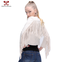 2015 Women Fashion Clothing Winter Plus Size Coat Fringe Maxi Suede Beige Long Sleeve Cardigan Ladies Leather Jacket Wear rtw
