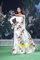 Subtle printed fabric red and white off the shoulder long sleeved wedding dresses 2015 china alibaba