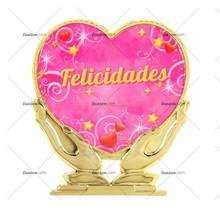 """Souvenir para obsequiar con Corazon en las manos, """"Felicidades"""""""