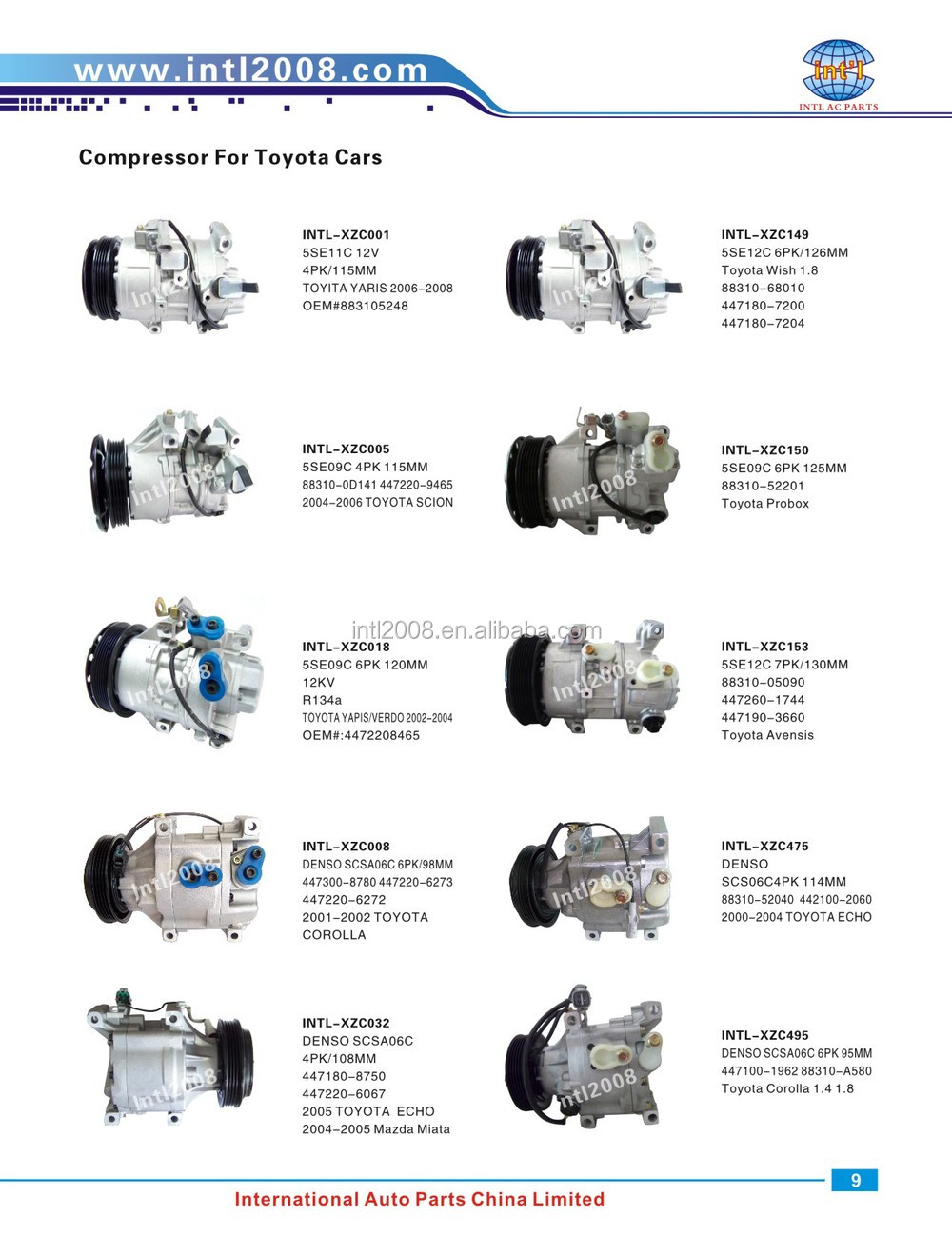 Denso Sc08c Ac Car Compressor For Toyota Tercel Starlet