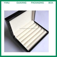 Solid EBONY PIANO GLOSS veneer wood cuff link jewelry, rings ,pens display box
