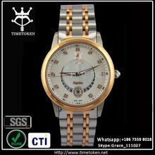 High quality men watches luxury stainless steel with rose gold bezel sapphire crystal and metal band
