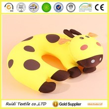 Microbeads Cute Deer Printed U-shape Neck Pillow Combined with Spandex and Coral Fleece