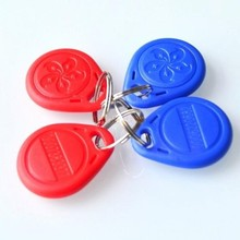 Trade Assurance Gold Supplier 100pcs/Lot RFID Tag Proximity ID Token Tag Key Ring 125Khz 125KHZ RFID Card bule red