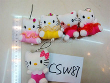 8cm dressed pink kitty keychain animal / mini soft plush kitty cat toy