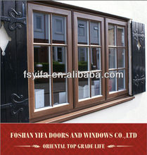 high quality window with decorative wrought iron window grill