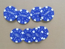 cheapest poker chip silk screen printing your logo on double side