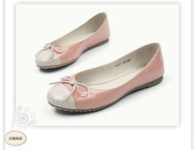 sweet assorted color flat shoes for women and girls with a beautiful bow ,glazed PU women shoes round toe shoes