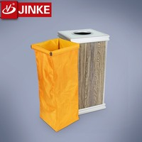 JINKE Hotel Wooden Classical Waste Bin/Garbage Chute Aluminium