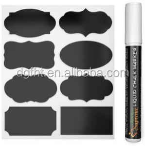 Amazon Hot Bán Hàng Mini Chalk Nhãn Dán Nhãn Bảng Đen Không Thấm Nước Nhãn, phấn nhãn + 1 bút lỏng