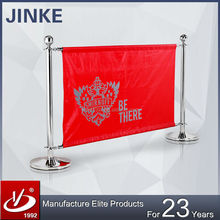 Stainless Steel Ball Top Cafe Shop Barrier, Banner Displayed Outdoor Advertising Equipment