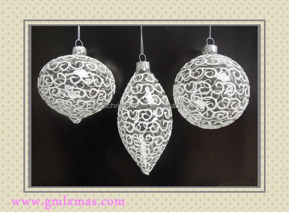 Christmas clear glass ball ornaments handmade