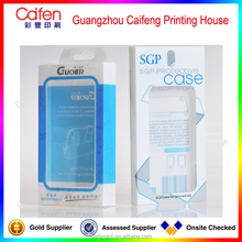 cute design colorful printing phone case pvc/pet packing box with hanger