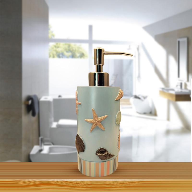 high quality sea shell design resin bathroom set soap