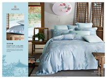 Lake Blue Color Tencel quilt cover set queen size 4 pcs bedding sheet