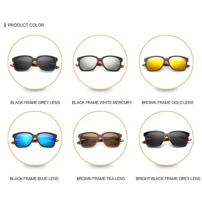 ZL156 Walnut Wooden temple Fashion Mirror Sunglasses (3)