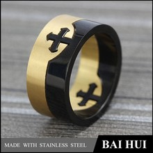 YBH002 Custom Stainless Steel Two Tone Cross Puzzle Ring/In Stock Latest Designs Unique Cross Ring