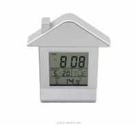 Hot selling house shape cute lcd alarm clock cheap plastic table clock