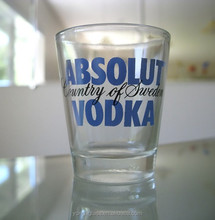 Hot selling 50ml custom print shot glass /Swallow vodka shot glasses cup/Spirit glass for drinking