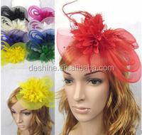 Delicate Wedding Fascinator Veil Feather Hard Yarn Headband Hats Women Brides Hair Accessories bulk