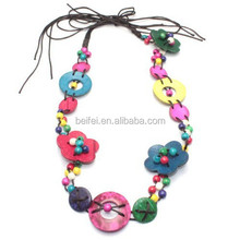 Beautiful wooden beads knit necklace for women