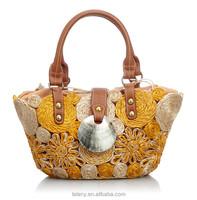 Lelany 2014 handmade national style with flowers elegant straw handbag