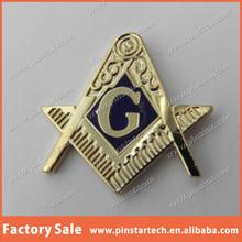 Wholesale Custom FREEMASONS MASONIC RULER COMPASS EMBLEM 1 INCH Item Metal Lapel Pin Badge gold