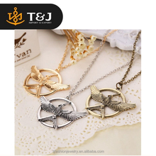 Hot selling fashion gold silver plated Mock Bird The Hunger Games Retro pendant&necklaces men vintage jewelry