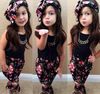 DHl free baby girls clothes black tops vest printed floral pants hairband set 3 piece 2-8T baby girl clothing boutique set
