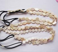 Natural,crude,inartificial shell headband,white color,square,round,flower and rhombus shape,with stock