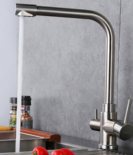 high quality 304 stainless steel 3 way kitchen faucet