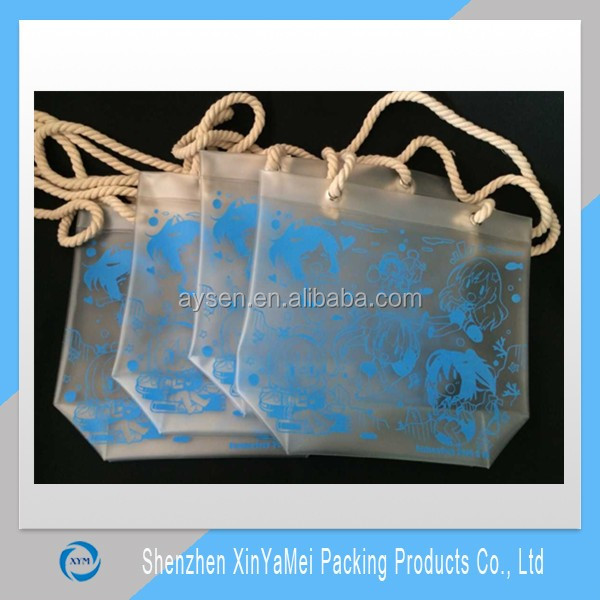 Custom Color Transparent PVC Material Promotional Cheap Plastic Shopping Bag