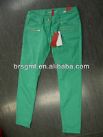 Lady's Green Fashion Casual Jeans
