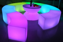 Led chair coffee table with color changing home party furniture