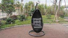 Outdoor Garden Aluminum Frame And Black Rattan Swing Chair