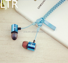 2015 Fashion Zip Cell phone Ear Accessorie Cool Zipper Headset with Mic