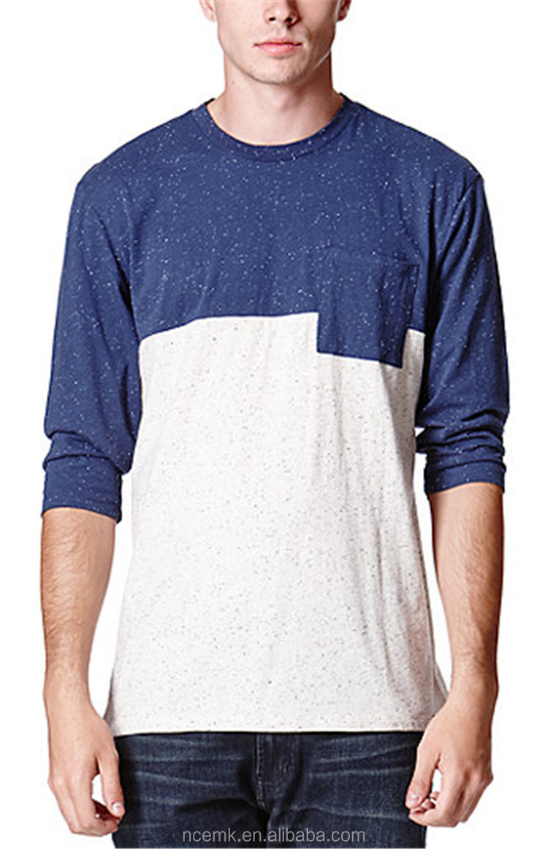 Two Color Baseball T Shirt Blank Pocket T Shirt Wholesale