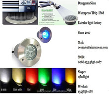 3 W Waterproof daylight Buried recessed led path lights for landscape, yard from 5 years Dongguan simu lighting factory