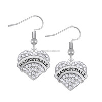 Stylish Rhodium Plated Clear Crystal Heart Engraved Letter Basketball Charms Drop Earrings