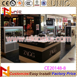 2015 Cellphone cases display showcase/mobile phone accessories kiosk/mall kiosk design for accessories with free design