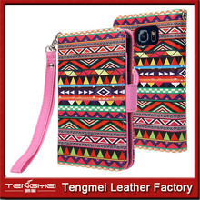 PU leather case for samsung galaxy S6 edge,folk style phone cover for samsung galaxy s6 edge