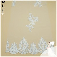 Good quality transparent white polyester floral embroidery bridal lace fabric